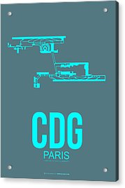 Cdg Paris Airport Poster 1 Acrylic Print by Naxart Studio