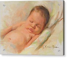 Cece At 2 Months Old Acrylic Print by Anna Rose Bain