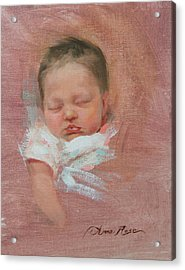 Cece At 2 Weeks Old Acrylic Print by Anna Rose Bain