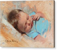 Cece At 3 Weeks Old Acrylic Print by Anna Rose Bain