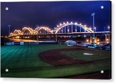 Centennial Bridge And Modern Woodmen Park Acrylic Print by Scott Norris