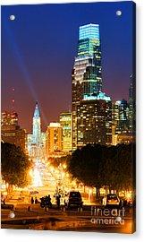 Center City Philadelphia Night Acrylic Print by Olivier Le Queinec