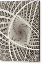 Centered White Spiral-fractal Art Acrylic Print by Karin Kuhlmann