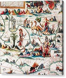 Central Asia Pierre Descelierss Map Acrylic Print by Photo Researchers
