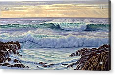 Central Pacific Surf Acrylic Print by Paul Krapf