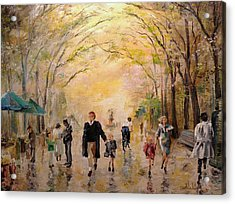 Central Park Early Spring Acrylic Print by Alan Lakin