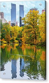 Central Park Pond Autumn Reflections Acrylic Print by Regina Geoghan