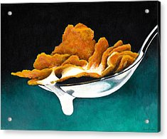 Cereal In Spoon With Milk Acrylic Print by Janice Dunbar