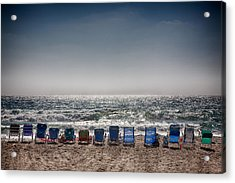 Chairs Watching The Sunset Acrylic Print by Peter Tellone