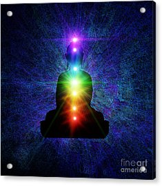 Chakra Buddha Acrylic Print by Tim Gainey