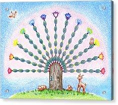 Chakra Tree Acrylic Print by Keiko Katsuta
