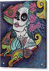 Chameleon Sugar Skull Acrylic Print by Laura Barbosa