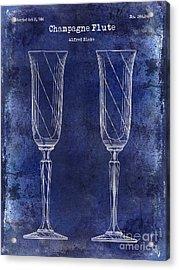 Champagne Flute Patent Drawing Blue Acrylic Print by Jon Neidert