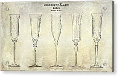 Champagne Flutes Design Patent Drawing Acrylic Print by Jon Neidert