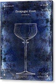 Champagne Glass Patent Drawing Blue 2 Acrylic Print by Jon Neidert