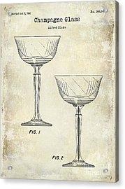 Champagne Glass Patent Drawing Acrylic Print by Jon Neidert