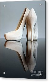 Champagne Stiletto Shoes Acrylic Print by Terri Waters
