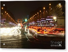 Champs-elysees And Arc De Triomphe Acrylic Print by Sami Sarkis