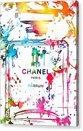 Chanel Number Five Paint Splatter Acrylic Print by Dan Sproul