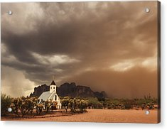 Chapel In The Storm Acrylic Print by Rick Furmanek