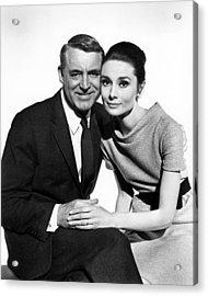 Charade Cary Grant Audrey Hepburn Acrylic Print by Silver Screen