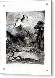 Charcoal Hills Acrylic Print by Gee Lyon