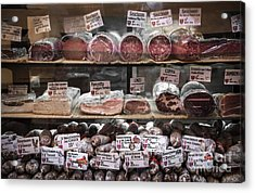 Charcuterie On Display In Butcher Shop In Old Nice Acrylic Print by Elena Elisseeva
