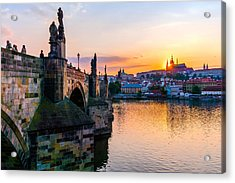 Charles Bridge And St. Vitus Cathedral In Prague Acrylic Print by Jim Hughes
