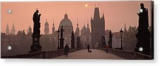 Charles Bridge At Dusk With The Church Acrylic Print by Panoramic Images