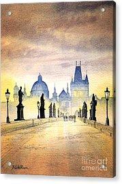 Charles Bridge Prague Acrylic Print by Bill Holkham