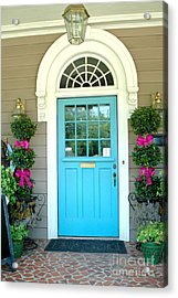 Charleston Aqua Teal French Quarter Doors - Charleston Aqua Blue Teal Garden Door Acrylic Print by Kathy Fornal