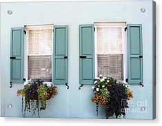 Charleston Aqua Teal French Quarter Rainbow Row Flower Window Boxes Acrylic Print by Kathy Fornal