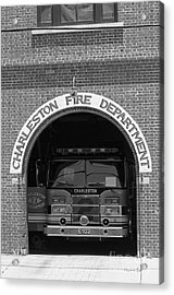 Charleston Fire Department - Black And White Acrylic Print by Suzanne Gaff