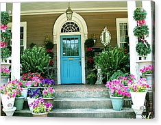 Charleston Garden- Blue Door Garden And Floral Art Acrylic Print by Kathy Fornal
