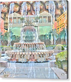 Charleston Pineapple Acrylic Print by Cathy Lindsey