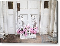 Charleston Shabby Chic Vintage Cottage Old Door With Basket Of Flowers Acrylic Print by Kathy Fornal