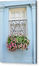 Charleston Window Box Flower Photography - Charleston Rainbow Row Blue Aqua Dreamy Flower Window Box Acrylic Print by Kathy Fornal