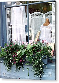 Charleston Window Boxes - Charleston Flowers Window Box And Lingerie Shop  Acrylic Print by Kathy Fornal