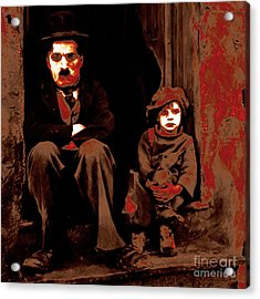 Charlie Chaplin 20130212-2-square Acrylic Print by Wingsdomain Art and Photography