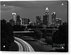 Charlotte Black And White Skyline Acrylic Print by Robert Loe