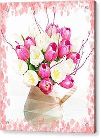 Charming Heart Tulips Acrylic Print by Debra  Miller