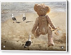 Chasing After Seagulls Acrylic Print by Adelita Rog