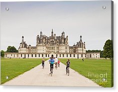 Chateau Chambord And Cyclists Acrylic Print by Colin and Linda McKie