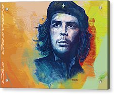 Che Guevara Stylised Modern Drawing Art Sketch Acrylic Print by Kim Wang