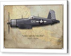 Checkerboarder F4u Corsair - Map Background Acrylic Print by Craig Tinder