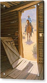 Checking The Line Cabin Acrylic Print by Paul Krapf