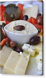 Cheese And Olives Acrylic Print by Kathy Schumann