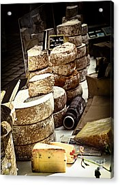Cheeses On The Market In France Acrylic Print by Elena Elisseeva