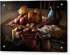 Chef - Food - A Tribute To Rembrandt - Apples And Rolls  Acrylic Print by Mike Savad