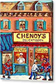 Chenoys Delicatessen Montreal Landmarks Painting  Carole Spandau Street Scene Specialist Artist Acrylic Print by Carole Spandau